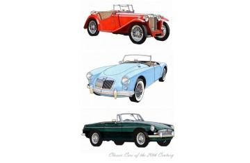 Classic Cars MG Tea Towel