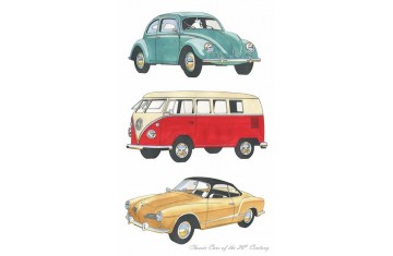 Classic Cars Volkswagons Tea Towel