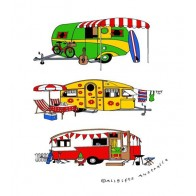 Three Caravans Tea Towel